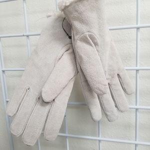 Dillard's Accessories - BOGO! Dillards tan/white leather gloves w/ fleece